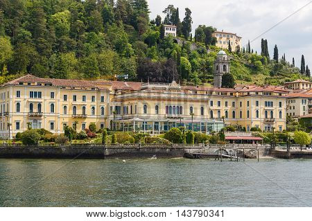Bellagio Italy - May 06 2016: View from Lake Como at the Grand Hotel Villa Serbelloni spring time