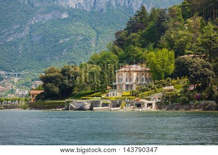 Bellagio Italy - May 06 2016: View of the villa Fanny from Lake Como spring time