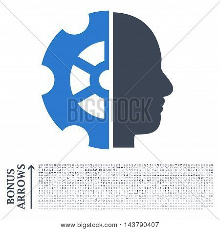 Intellect icon with 1200 bonus arrow and navigation pictograms. Vector illustration style is flat iconic bicolor symbols, smooth blue colors, white background.