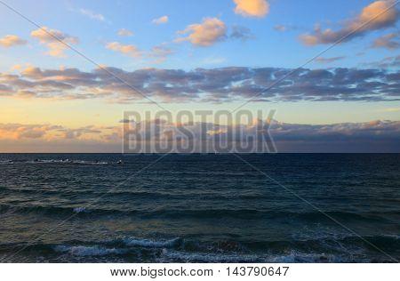 View of the Mediterranean Sea, Tel Aviv. Sunset.