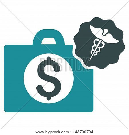 Medical Business icon. Vector style is bicolor flat iconic symbol with rounded angles, soft blue colors, white background.