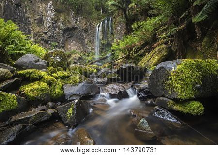 Hopetoun falls after rainfall. It is located in the Otway Ranges National Park, along the world famous Great Ocean Road in Victoria, Australia.