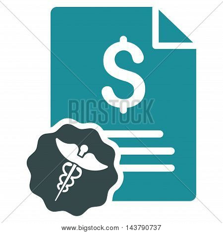 Medical Invoice icon. Vector style is bicolor flat iconic symbol with rounded angles, soft blue colors, white background.
