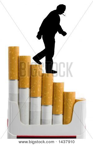 Cigarettes Like A Staircase And Silhouette Of Smoker