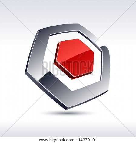 Abstract modern 3d hexagon  icon. Vector.