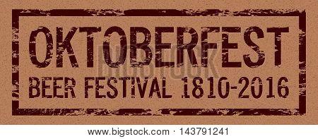 Oktoberfest beer festival 2016, celebration logo, retro style text, kraft paper texture, vector design