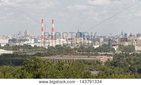 Moscow - August 11 2016: View from the observation deck on the Sparrow Hills and Ostankino tower away August 11 2016 Moscow Russia