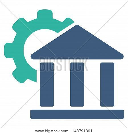 Bank Settings icon. Vector style is bicolor flat iconic symbol with rounded angles, cobalt and cyan colors, white background.