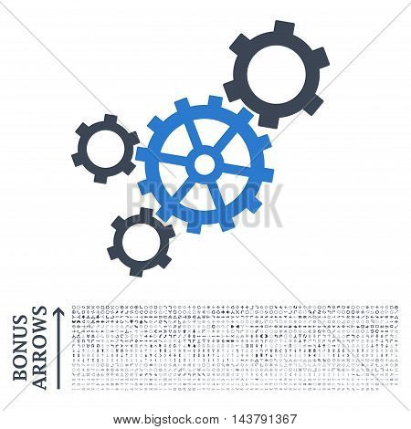 Mechanism icon with 1200 bonus arrow and direction pictograms. Vector illustration style is flat iconic bicolor symbols, smooth blue colors, white background.