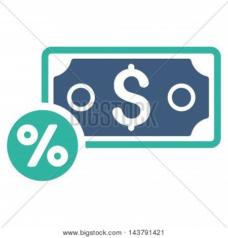 Banknote Percent icon. Vector style is bicolor flat iconic symbol with rounded angles, cobalt and cyan colors, white background.