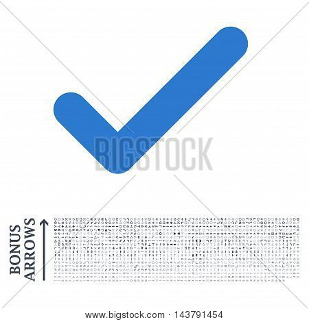 Ok icon with 1200 bonus arrow and direction pictograms. Vector illustration style is flat iconic bicolor symbols, smooth blue colors, white background.