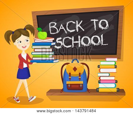 Back to school background cartoon vector illustration. Back to school concept. School girl with textbooks. School backpack. Elementary school. Classroom interior.