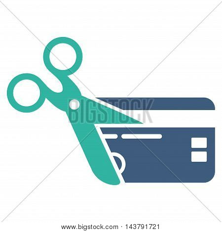 Cut Credit Card icon. Vector style is bicolor flat iconic symbol with rounded angles, cobalt and cyan colors, white background.
