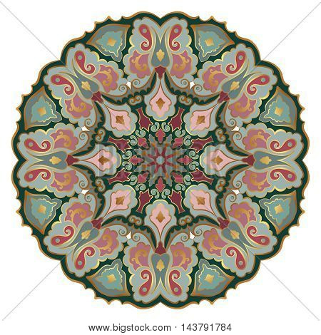 Ornate eastern mandala with golden contour. Vector round colorful ornament in bright tones isolated on a white background.