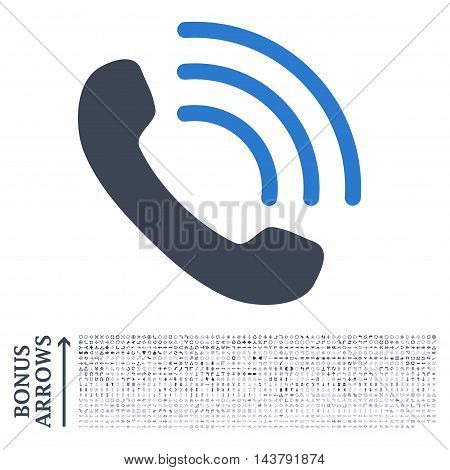 Phone Call icon with 1200 bonus arrow and direction pictograms. Vector illustration style is flat iconic bicolor symbols, smooth blue colors, white background.