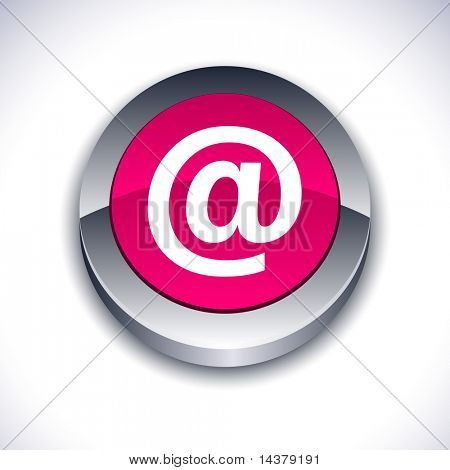 Arroba metallic 3d vibrant round icon.