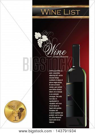 Elegant Wine List And Gold Medal.eps