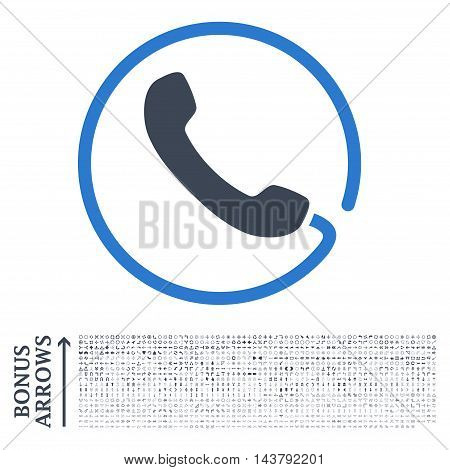 Phone icon with 1200 bonus arrow and navigation pictograms. Vector illustration style is flat iconic bicolor symbols, smooth blue colors, white background.