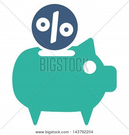 Piggy Bank icon. Vector style is bicolor flat iconic symbol with rounded angles, cobalt and cyan colors, white background.