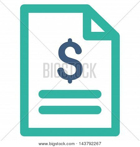 Price List icon. Vector style is bicolor flat iconic symbol with rounded angles, cobalt and cyan colors, white background.