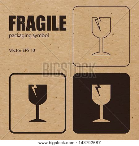 Different appearances of Fragile packaging symbol on craft paper background can be used on the box or packaging. Vector EPS 10.