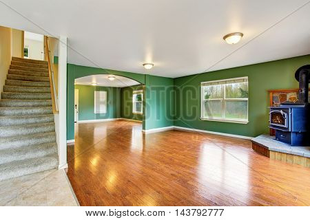 Open Floor Plan Interior With Green Walls And Hardwood Floor.