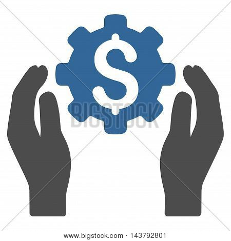 Banking Maintenance Hands icon. Vector style is bicolor flat iconic symbol with rounded angles, cobalt and gray colors, white background.