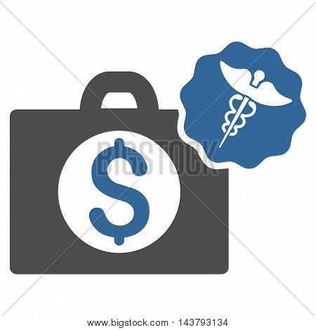 Medical Business icon. Vector style is bicolor flat iconic symbol with rounded angles, cobalt and gray colors, white background.