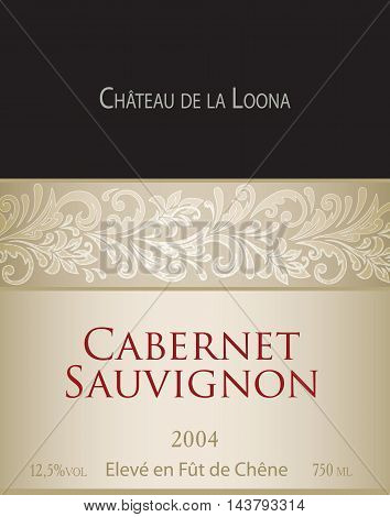 Vector template of white wine label Cabernet Sauvignon. On the label top there is a fictitious brand name