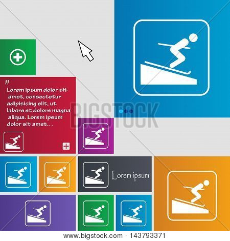 Skier Icon Sign. Buttons. Modern Interface Website Buttons With Cursor Pointer. Vector