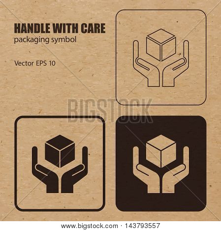 Different appearances of Handle with Care packaging symbol on craft paper background can be used on the box or packaging. Vector EPS 10.
