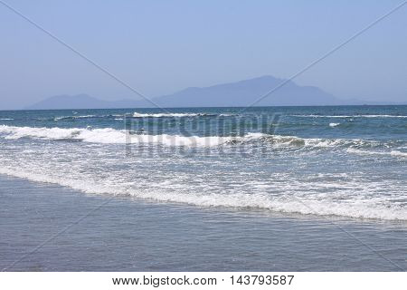 beautiful seascape with fresh cold clear water in summer, selective focus