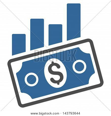 Sales Bar Chart icon. Vector style is bicolor flat iconic symbol with rounded angles, cobalt and gray colors, white background.