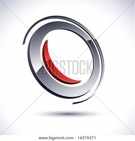 Abstract modern 3d round emblem. Vector.