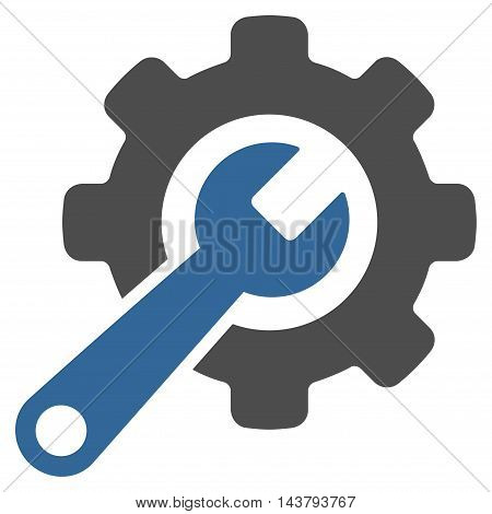 Tools icon. Vector style is bicolor flat iconic symbol with rounded angles, cobalt and gray colors, white background.