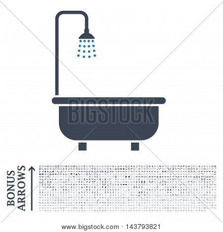 Shower Bath icon with 1200 bonus arrow and navigation pictograms. Vector illustration style is flat iconic bicolor symbols, smooth blue colors, white background.