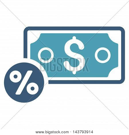 Banknote Percent icon. Vector style is bicolor flat iconic symbol with rounded angles, cyan and blue colors, white background.