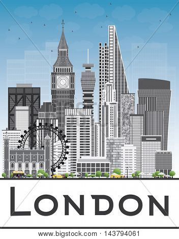 London Skyline with Gray Buildings and Blue Sky. Vector Illustration. Business Travel and Tourism Concept with Modern Buildings. Image for Presentation Banner Placard and Web Site.