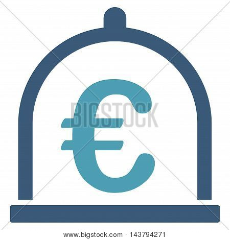 Euro Storage icon. Vector style is bicolor flat iconic symbol with rounded angles, cyan and blue colors, white background.