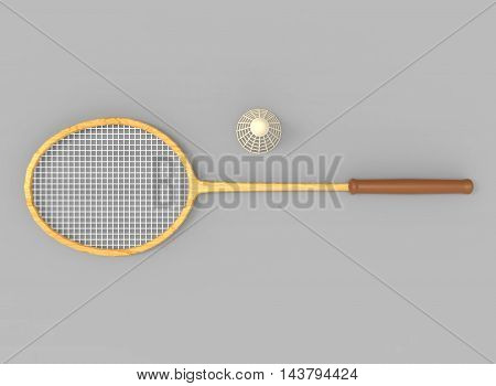 3d illustration of badminton racket and shuttlecock. grey background isolated. icon for game web.