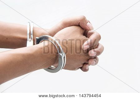 Hand With Shackle On White