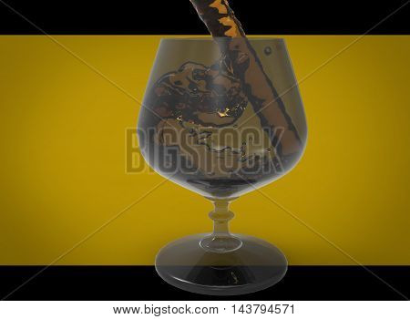 3d illustration of splash of liquid in wine glass. yellow background isolated. icon for game web.