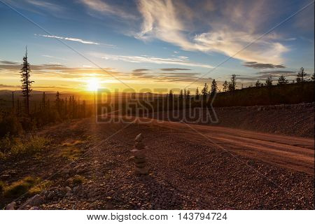 Sunset in the spurs Stanovoy Ridge South Yakutia Russia