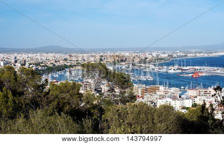Scenic view over Palma de Mallorca Balearic Islands showing the topography of the city and marina in a travel concept