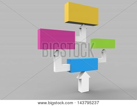 Colorful cubes with arrows 3D. grey background isolated with shadows. 3d illustration.