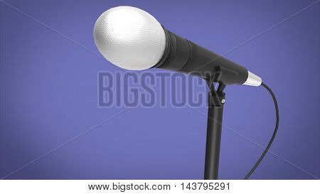 3d illustration of microphone. blue background isolated. icon for game web. tool for singers