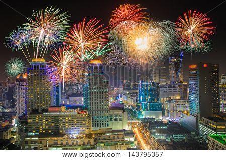 Fireworks celebration In the business district of Bangkok nightlife.