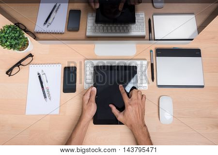 Top View Office Hand Working With Tablet