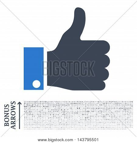 Thumb Up icon with 1200 bonus arrow and navigation pictograms. Vector illustration style is flat iconic bicolor symbols, smooth blue colors, white background.