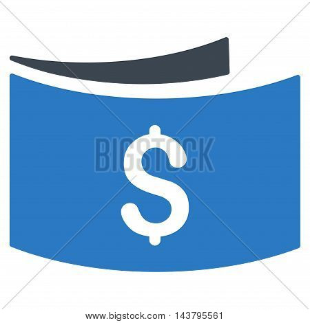 Banknotes icon. Vector style is bicolor flat iconic symbol with rounded angles, smooth blue colors, white background.